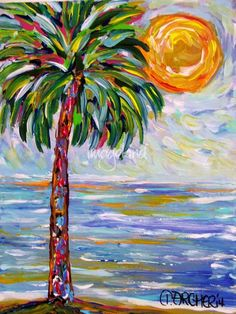 New palm tree painting 55 Ideas Palm Tree Drawing, Palm Tree Art, Palm Trees, Willow Tree Tattoos, Tropical Art, Watercolor Trees, Beach Art, Acrylic Art, Art Projects