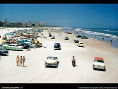 Daytona Beach, Florida. Ever wanted to drive a convertible or ride a motorcycle on the beach while checking out some bikini beauties or handsome shirtless beaus? Well, in designated sections of this beach, your dream can come true!