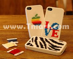 Too cool! Cross Stitch Series Silicone Case for iPhone 4 Milk-White - Tmart.com