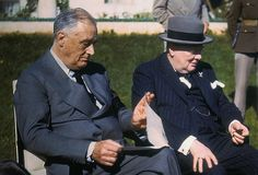 FDR and Churchill: Casablanca, Morocco January 1943. President Franklin D. Roosevelt and Prime Minister Churchill speak on the lawn of the President's villa during a conference.