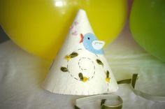 Felt Party Hat  The Blue Bird Sings by StellandLivi on Etsy