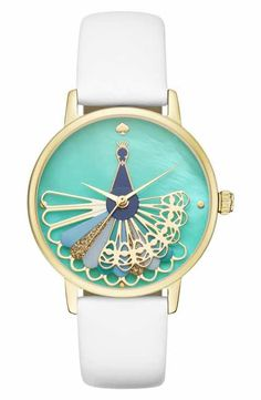 kate spade new york metro peacock leather strap watch, 34mm