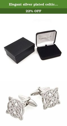 Elegant silver plated celtic knot style cufflinks with presentation box. Elegantly styled silver plated celtic knot style cufflinks. These measure 5/8ths of an inch in diameter. Presentation boxed.