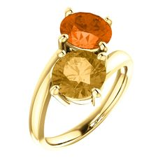 71808 / Set / 14K Yellow / Honey Topaz And Poppy Topaz / Round / 8 Mm / Polished / Genuine Honey Topaz And Poppy Topaz Ring