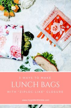 """Reusable everything is what is in rigth now. Not only for trend but for the care of our enviroment too. Check this easy video tutorial to learn how to make 3 easy snack and lunch bags """"ziploc-like"""" bags. Easy Sewing Projects, Sewing Projects For Beginners, Craft Tutorials, Sewing Hacks, Sewing Tutorials, Diy Projects, Sewing Ideas, Sewing Patterns Free, Free Sewing"""