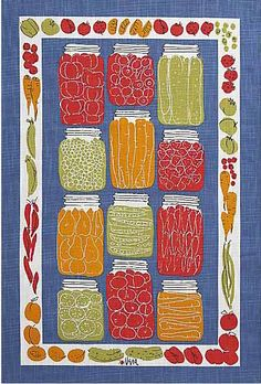 Vintage Vera Neumann dish towels, reissued at Crate & Barrel