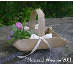 Khaki burlap flower girl basket for rustic weddings Burlap Canvas, Burlap Lace, Burlap Flowers, Drop Cloth Projects, Burlap Projects, Colored Burlap, Flower Girl Basket, Ribbon Colors, Easter Baskets