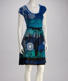 Take a look at this Blue Floral & Swiss Dot Dress by Desigual on #zulily today!