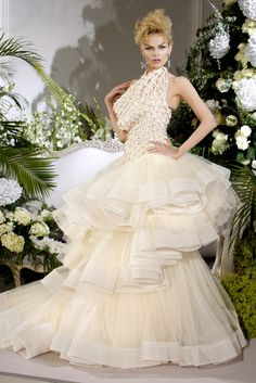 Over the top pearl white wedding gown by John Galliano and Christian Dior   Fall 2009 Couture Collection