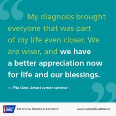 You can find inspiration, hope, and support in stories about people whose lives have been touched by cancer. Read Rita's story.