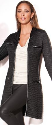Textured sweater coat | Leather