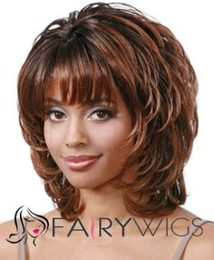 Sketchy Short Wavy Brown Full Bang African American Wigs for Women 12 Inch : fairywigs.com