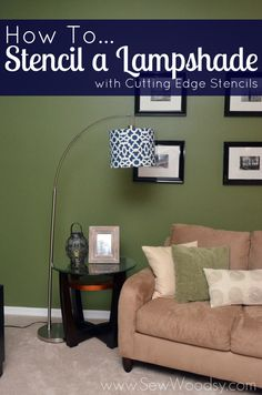 How to Stencil a Lampshade with Cutting Edge Stencils #DIY #Craft #HomeDecor #CuttingEdgeStencils #Paint