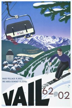 Old school skier is juxtaposed against Vail's famous Vista Bahn high speed chair lift to commemorate 40 years of great skiing and mountain living. Vintage Ski Posters, Cool Posters, Ski Lodge Decor, Winter Sports, Vintage Advertisements, Illustration, Skiing, Images, Vail Colorado