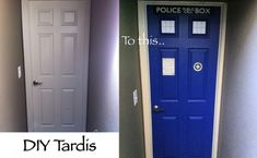 DIY TARDIS Door Makeover.  I could do this to the inside of the front door.  What do you think @Vicki Kipp ?