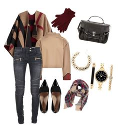 """""""maroon and khaki"""" by snany ❤ liked on Polyvore featuring Burberry, Tome, Balmain, Proenza Schouler, M&Co and Style & Co."""