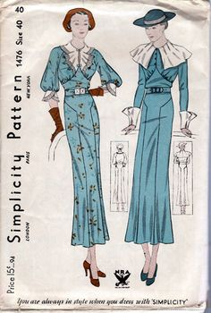 SIMPLICITY 1476 Misses Size 40 Bust 40 A rare gem! Great for the collector. This dress has a slim skirt with a flared bottom and has matching cuffs