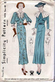 1930s Misses Dress Simplicity