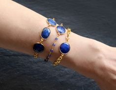 Sapphire triple stone and gold plated chain by rosehipjewelry, $55.00