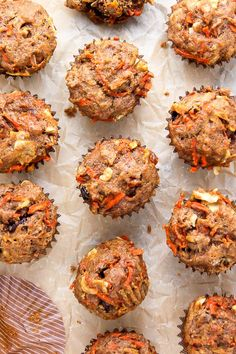 My Favorite Morning Glory Muffins (Baker By Nature) Morning Glory Muffins, Healthy Muffins, Healthy Snacks, Coconut Muffins, Carrot Muffins, Healthy Bars, Healthy Eating, Vegetarian Recipes, Cooking Recipes