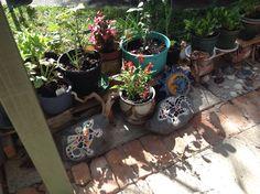 Mosaic garden stones Mosaic Garden, Garden Stones, Planter Pots, Stones For Garden