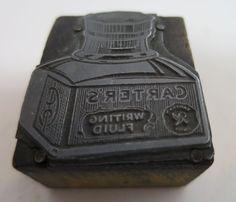 Antique Printer Block Cut Advertising Picture Vtg Carter's Writing Fluid #Letterpressonwood