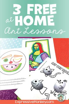 3 Free Home Art Lessons - Distance Learning Packet - Henrietta Helling History Lessons For Kids, Art Lessons For Kids, Art Activities For Kids, Art Lessons Elementary, Art For Kids, Art Classroom Management, Art Curriculum, Drawing For Beginners, Snow Days