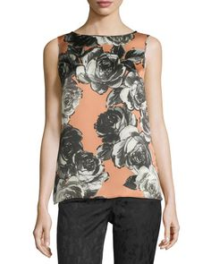 Lafayette 148 New York Josa Sleeveless Floral Blouse, Sienna  New offer @@@ Price :$348 Price Sale $199