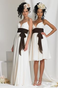 Love the white and brown together for a bridesmaids dress.  Would look good with the boots we're going to wear!