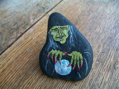 witch with crystal ball : painted pebble