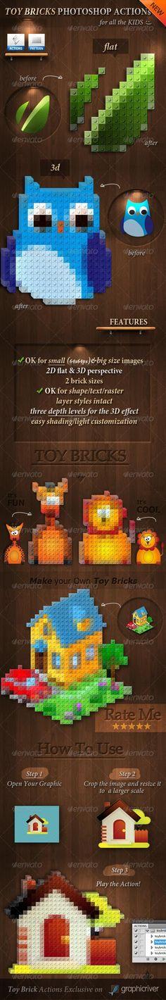 3D Toy Bricks Photoshop Actions - GraphicRiver Item for Sale