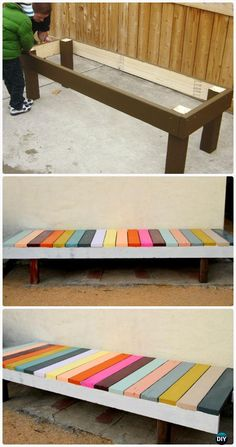 Diy Colorful Painted Garden Bench Instructions Outdoor Garden Bench Ideas Furniture Outdoor Garden Bench
