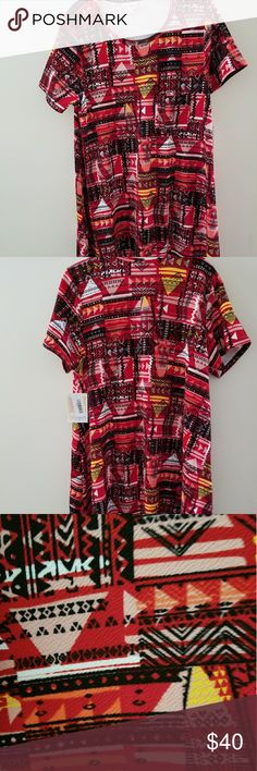 NWT Lularoe Medium Carly Brand New With Tags/Never Worn, smoke free home. Red background with black, pink, yellow, white and orange geometric design. Material is stretchy, similar to some Lularoe Amelia/Cassie material. LuLaRoe Dresses