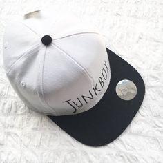White & Black UNISEX snapback baseball cap by JunkboxCouture