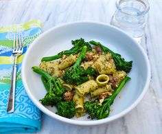 pasta with walnut pesto, sausage, and broccolini | Marin Mama Cooks