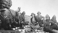 Faisal ibn Hu- sayn, the first king of Iraq (right foreground), and Gertrude Bell picnic in 1921 near Ctesiphon, site of a seventh-century Arab victory.