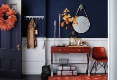 Foyer table, chair hooks, mirror and boxes