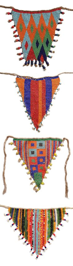 Africa | Girl aprons (cache-sexe) from the Kirdi people of Northern Cameroon | Glass beads, cowrie shells and fibre | 20th century