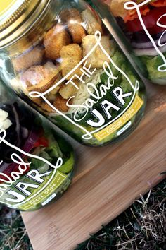 """This DIY """"Salad Jar"""" craft is healthy and a fun way to inspire others to eat healthy. I'm going to make one for work, leave it in the communal refrigerator to see who swipes my lunch or gets inspired to eat healthy! Salad In A Jar, Salad Bar, Soup And Salad, Mason Jar Meals, Meals In A Jar, Mason Jars, Good Food, Yummy Food, Cooking Recipes"""