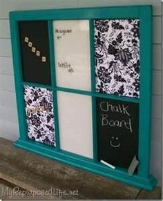 Whiteboard, blackboard and corkboard from a repurposed window... yes please!