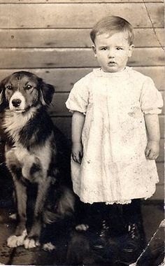 1912 Real Photo CHILD  DOG Perfect Pose - RPPC