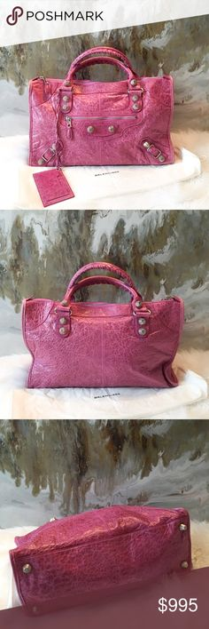 """Balenciaga Pink Leather City Distressed Tote Bag Authentic Balenciaga Motocross City Bag. Distressed pink leather with silver tone hardware. Great size bag and a subtle pink color with silver tone hardware. Mirror Tassel is attached, Zipper closure. Great condition, minimal wear throughout, nothing noticeable.  Does not come with dust bag.  Measures approx 16.5"""" x 11.5"""" x 6"""". Balenciaga Bags Satchels"""