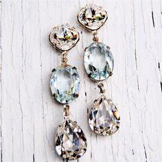 Bridal Earrings - Wedding, Something Blue, Bride - Swarovski Clear Diamond and Light Aquamarine Large Rhinestone Dangle Earrings - Mashugana. $74.50, via Etsy.