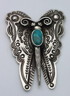 Nicely stamped Butterfly pin with turquoise