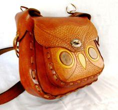 Tooled Leather Owl Purse
