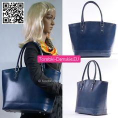Granatowa włoska torba damska ze skóry naturalnej. #torebki #handbags #handbag