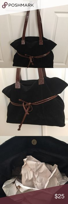 """Large suede bag Genuine suede bag. Very large for all your valuable stash. Gently used and in great condition. No specific brand name- but I think I purchased at LIMITED. Hope measurements show up in photos but it measures 18"""" across and shoulder drop of strap is 14"""". Height of bag is 12"""". Simulated croc strap in  good condition. Bags Shoulder Bags"""