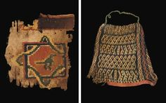 Lot Description    A COPTIC POLYCHROME WOOL COWL  CIRCA 5TH-6TH CENTURY A.D.  Decorated with horizontal and vertical bands of stripes, zigzags, dots and diamond motif pattern, 9 in. (23 cm.) high; and a group of Coptic textile fragments, tunic borders and clavi including: a polychrome fragment in loop woven wool with an interlaced square and diamond motif border with central stylized bird