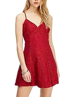 Friendshop Summer Womens Beach Printed Harness Sexy Flower Lace Vneck Straps Dress *** BEST VALUE BUY on Amazon