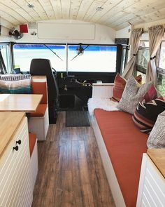 We don't have many pictures from this angle where you can see the driver seat but we love how much natural light fills up our tiny home on… School Bus Tiny House, School Bus Camper, Bus Living, Tiny House Living, Bus Remodel, Trailers, Converted Bus, School Bus Conversion, Small Space Interior Design